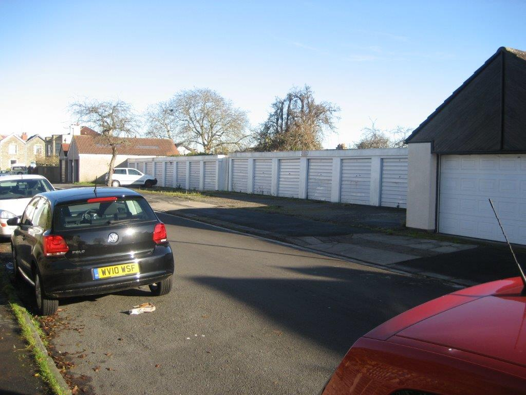 Land Market, Arundel Road Before Development, row of garages