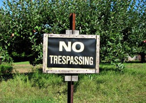 No trespassing sign, protecting your land,